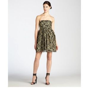 Alice and Olivia black gold embroidered dress 10